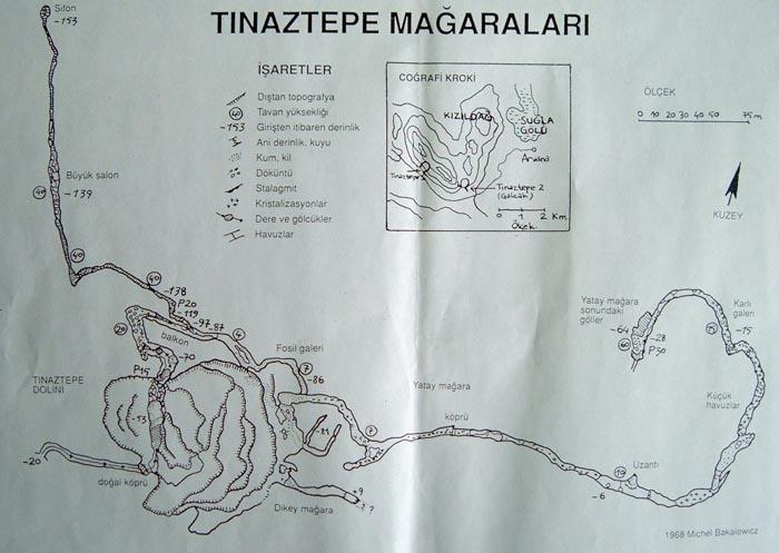 Схема пещеры Тыназтепе