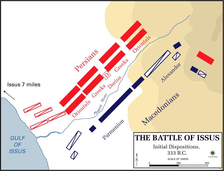 Битва при Иссе: начальное расположение войск