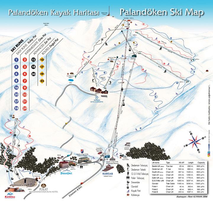 Актуальная карта горнолыжного курорта Паландокен с пояснениями на турецком языке